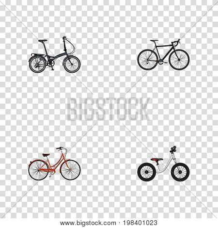 Realistic Equilibrium, Folding Sport-Cycle, Retro And Other Vector Elements