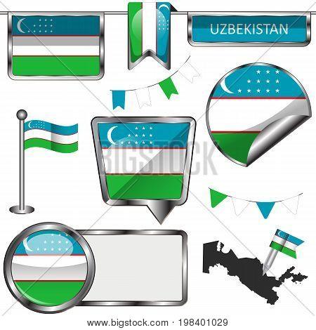 Glossy Icons With Flag Of Uzbekistan