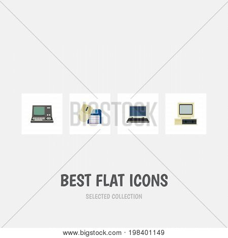 Flat Icon Computer Set Of Computer Mouse, Computer, Notebook And Other Vector Objects