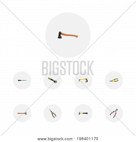 Set Of Instruments Realistic Symbols Also Includes Arm, Instrument, Carpenter Objects.  Realistic Chisel, Hatchet, Handle Hit Vector Elements.