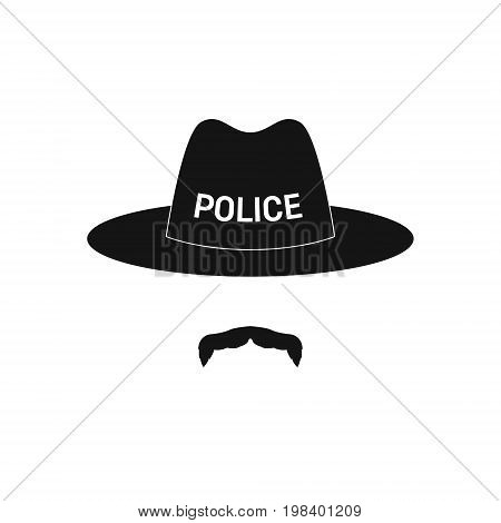 Sheriff avatar. Mustachioed policeman in hat. Vector illustration.