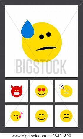 Flat Icon Gesture Set Of Pouting, Love, Sad And Other Vector Objects