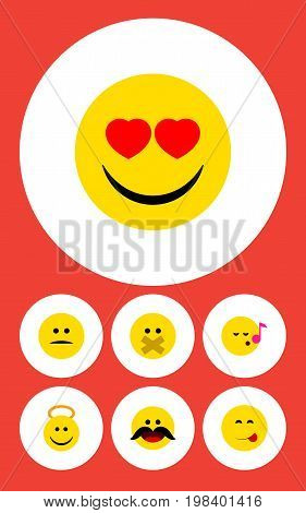 Flat Icon Expression Set Of Descant, Displeased, Cheerful And Other Vector Objects