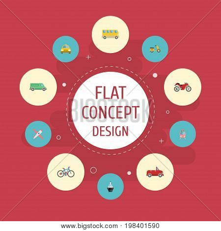 Flat Icons Bicycle, Streetcar, Carriage And Other Vector Elements