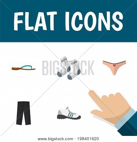 Flat Icon Garment Set Of Lingerie, Foot Textile, Beach Sandal Vector Objects
