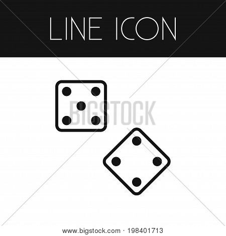 Die Vector Element Can Be Used For Die, Dice, Luck Design Concept.  Isolated Dice Outline.