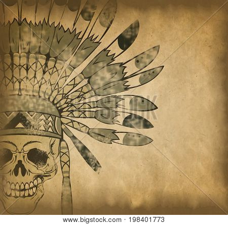 Skull With Indian Headdress On Old Paper