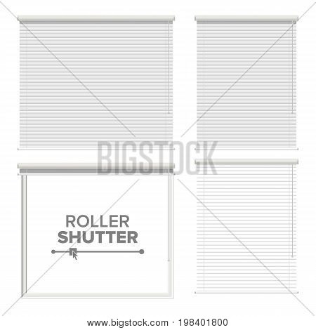 Window With Rolling Shutters Vector. Opened And Closed. Front View. Isolated On White