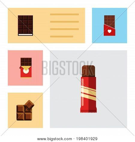 Flat Icon Cacao Set Of Cocoa, Sweet, Chocolate Bar And Other Vector Objects