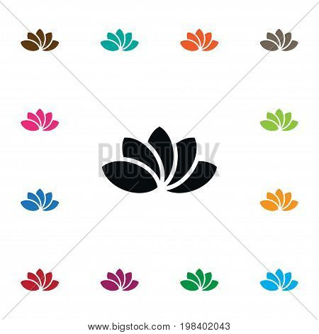 Water Lily Vector Element Can Be Used For Lotus, Water, Lily Design Concept.  Isolated Lotus Icon.