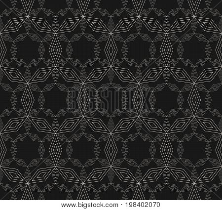 Subtle geometric pattern, vector seamless texture with thin linear lattice. Illustration of delicate mesh, lace. Ornamental abstract background, repeat tiles. Dark design for prints, decor, cover, web.