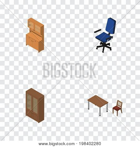 Isometric Furniture Set Of Cupboard, Cabinet, Chair And Other Vector Objects