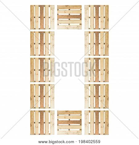 top view of isolated symbol number digit 0 (zero) in wood pallet pattern on the white background