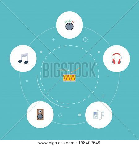Flat Icons Knob, Audio Box, Mp3 Player And Other Vector Elements