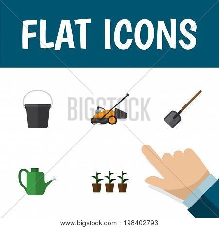Flat Icon Dacha Set Of Shovel, Bailer, Flowerpot And Other Vector Objects