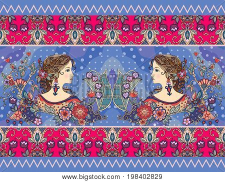 Vintage pattern with beautiful girls and flowers. Print for tea or cookies package. Vector illustration.