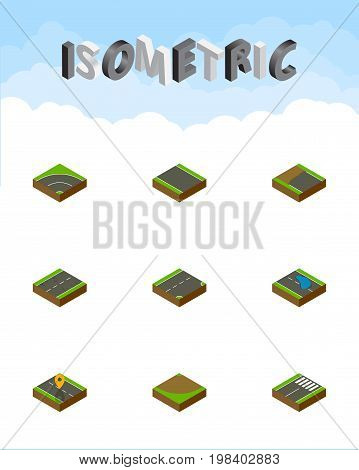 Isometric Way Set Of Footer, Bitumen, Turn And Other Vector Objects
