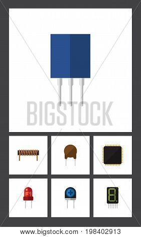 Flat Icon Device Set Of Recipient, Display, Transducer And Other Vector Objects