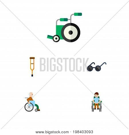 Flat Icon Cripple Set Of Equipment, Disabled Person, Stand Vector Objects