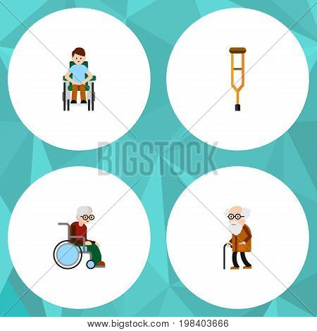 Flat Icon Disabled Set Of Disabled Person, Ancestor, Wheelchair And Other Vector Objects