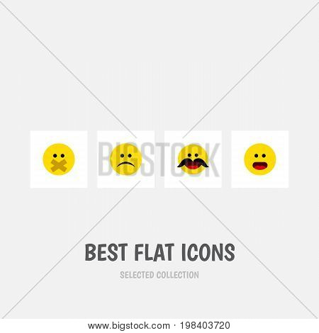 Flat Icon Gesture Set Of Hush, Sad, Cheerful And Other Vector Objects