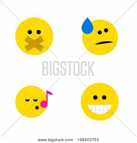 Flat Icon Expression Set Of Tears, Grin, Descant And Other Vector Objects