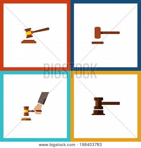 Flat Icon Lawyer Set Of Crime, Defense, Government Building And Other Vector Objects