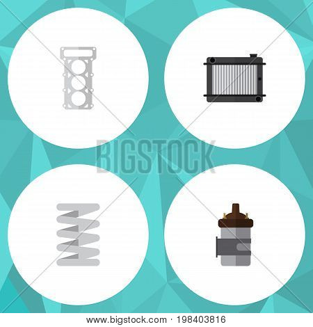 Flat Icon Auto Set Of Packing, Absorber, Heater And Other Vector Objects