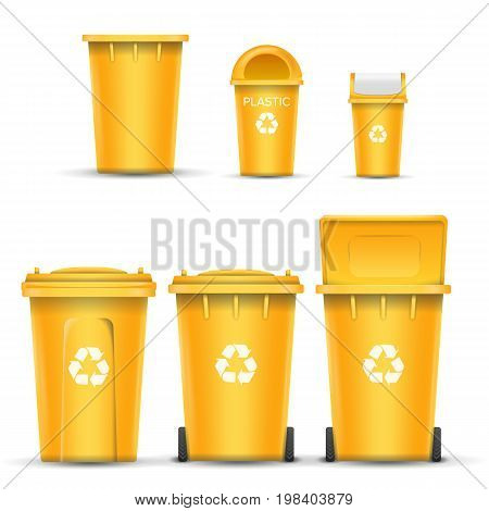 Yellow Recycling Bin Bucket Vector For Plastic Trash. Opened And Closed. Front View. Sign Arrow.
