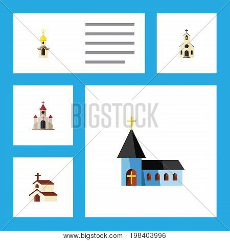 Flat Icon Christian Set Of Religion, Structure, Christian And Other Vector Objects