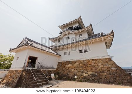 KAKEGAWA JAPAN - MAY 29 2017: Reconstructed Main Keep (donjon) of Kakegawa Castle Japan. Castle was founded in 1497 by Asahina Yasuhiro demolished in 1869 and reconstructed in 1993