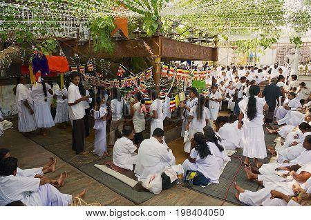 COLOMBO, SRI LANKA - MAY 17, 2011: Unidentified people celebrate Vesak religious festival in a Buddhist temple in Colombo, Sri Lanka.
