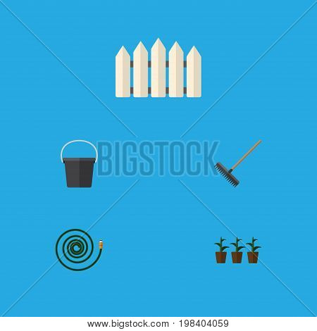 Flat Icon Dacha Set Of Hosepipe, Harrow, Wooden Barrier And Other Vector Objects