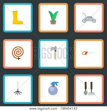 Flat Icons Axe, Rubber Boots, Garden Hose And Other Vector Elements