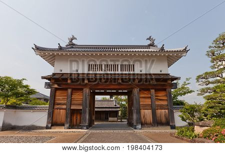 KAKEGAWA JAPAN - MAY 29 2017: Reconstructed Main Gate (Otemon) of Kakegawa Castle Japan. Castle was founded in 1497 by Asahina Yasuhiro demolished in 1869 and reconstructed in 1993