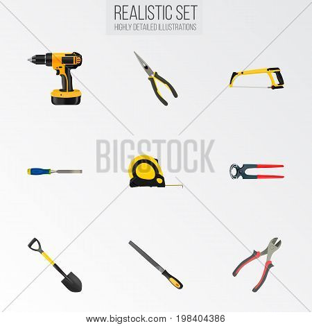 Realistic Tongs, Arm-Saw, Sharpener And Other Vector Elements