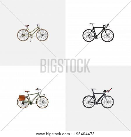 Realistic Exercise Riding, For Girl, Competition Bicycle And Other Vector Elements