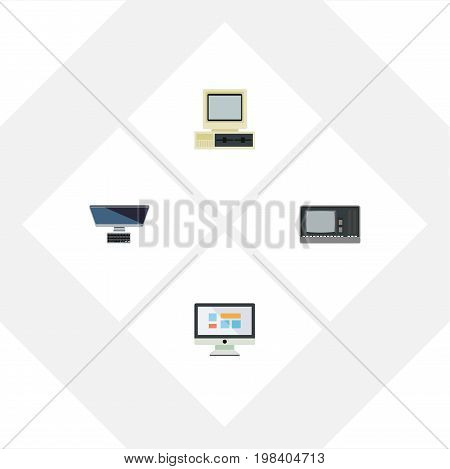 Flat Icon Computer Set Of PC, Computer, Display And Other Vector Objects