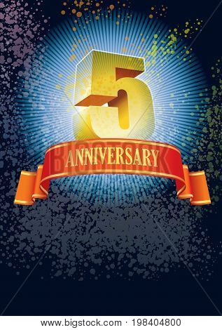 Background with design elements for the poster celebrating fifth anniversary