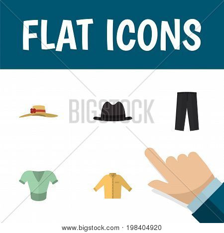 Flat Icon Garment Set Of Casual, Panama, Elegant Headgear And Other Vector Objects