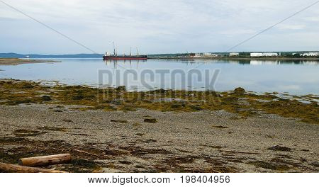 View of a working seaport at Searsport Maine in the summertime.