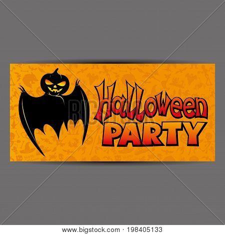 Halloween party orange flyer, booklet, brochure with bat.