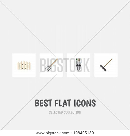 Flat Icon Farm Set Of Wooden Barrier, Harrow, Pump And Other Vector Objects