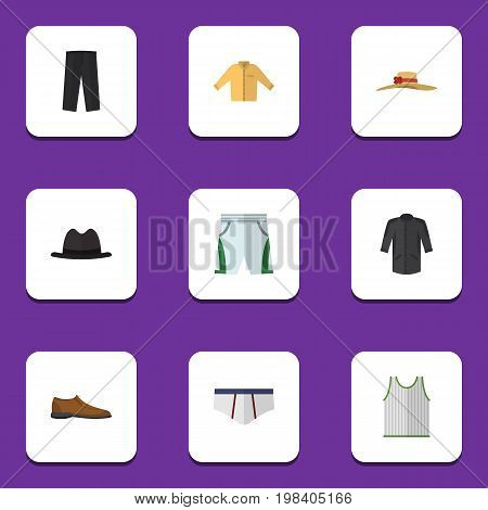 Flat Icon Garment Set Of Uniform, Male Footware, Trunks Cloth And Other Vector Objects