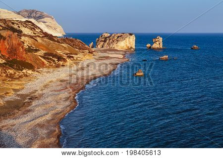 Panoramic Sunset Landscape Of Petra Tou Romiou (the Rock Of The Greek), Aphrodite's Legendary Bi