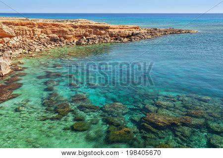 Beautiful Natural Rock Arch Near Of Ayia Napa, Cavo Greco And Protaras On Cyprus Island, Mediterrane