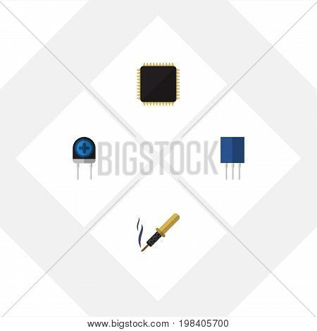 Flat Icon Appliance Set Of Receptacle, Cpu, Repair And Other Vector Objects