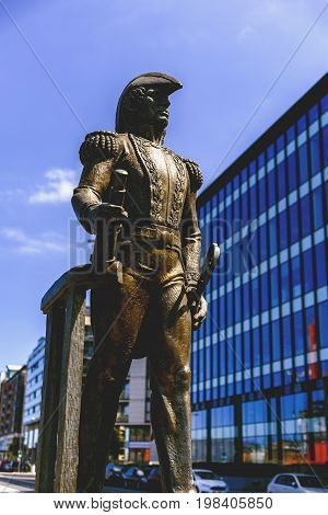 DUBLIN IRELAND - July 12th 2017: Statue of the Admiral William Brown on Dublin Docklands near the Samuel Beckett bridge