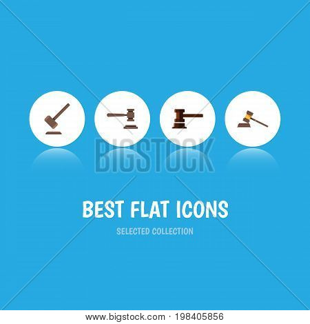 Flat Icon Hammer Set Of Tribunal, Court, Legal And Other Vector Objects
