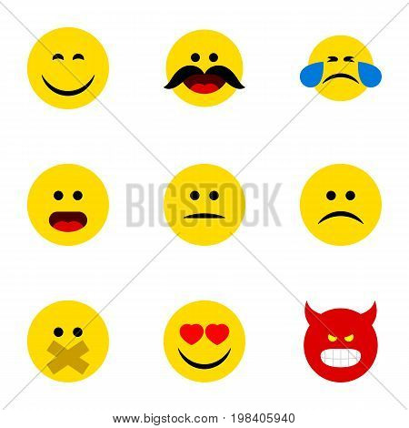 Flat Icon Face Set Of Love, Wonder, Sad And Other Vector Objects